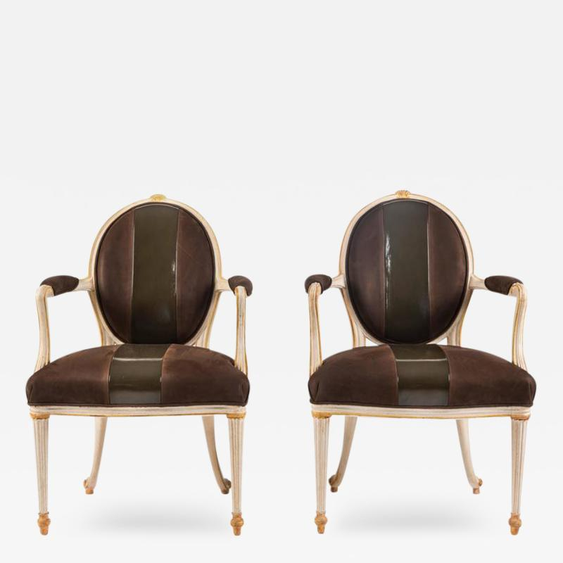 William Billy Haines Pair of Leather Upholstered Fauteuils by William Billy Haines