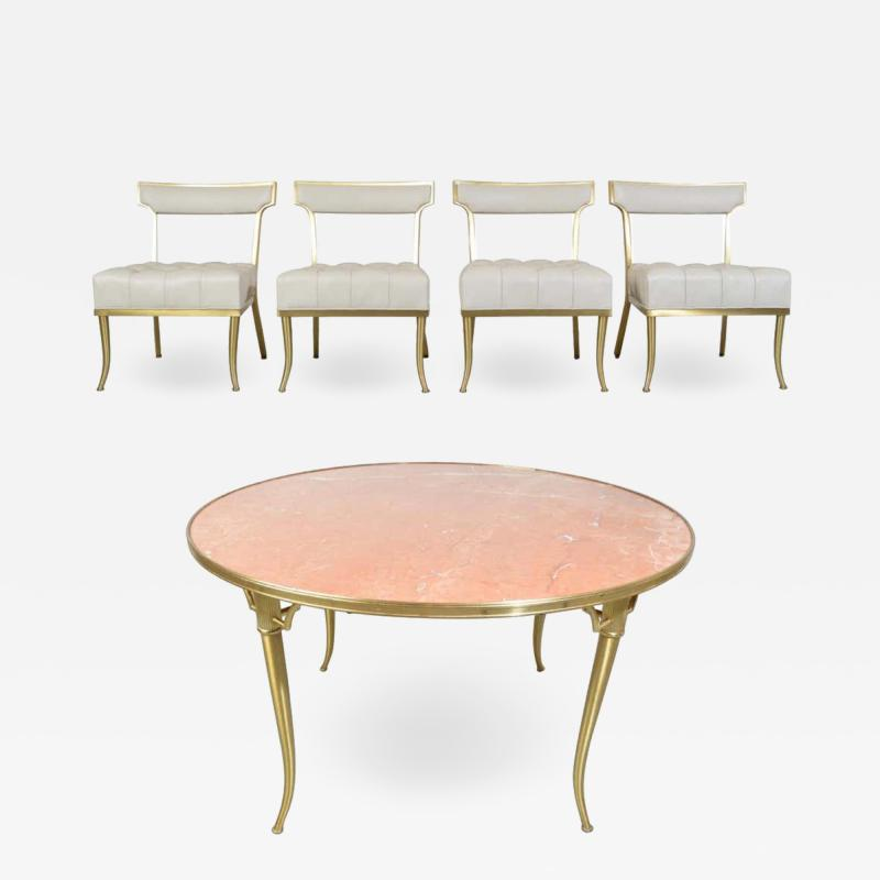 William Billy Haines William Billy Haines Brass and Marble Game Dinette Party Table and Chairs Set