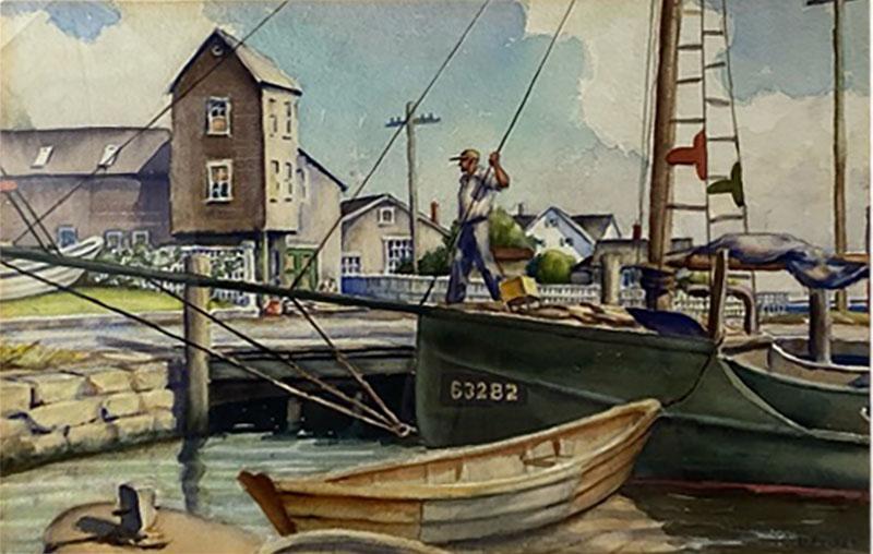 William Douglas Prizer POIGNANT 1940s MARINA WATERCOLOR BY WILLIAM DOUGLAS PRIZER