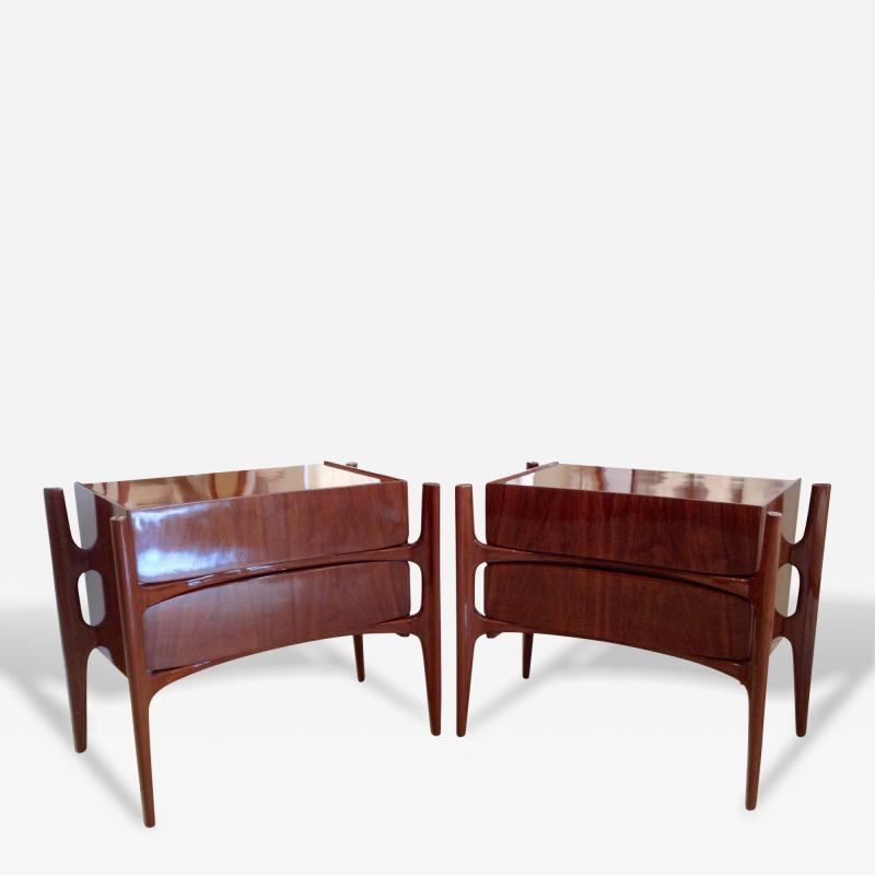 William Hinn Pair of American Modern Walnut Bedside Cabinets