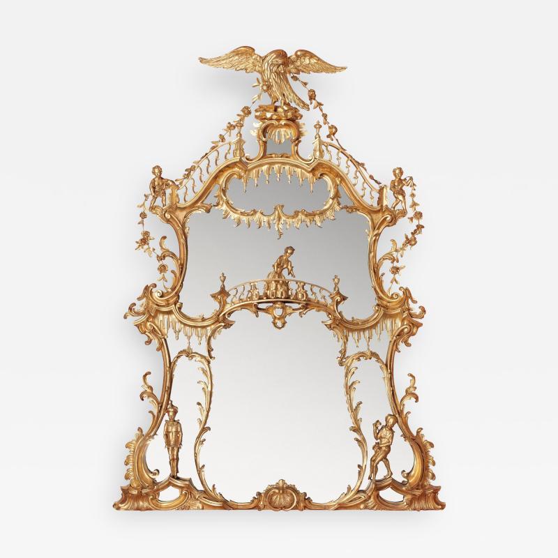 William IV period giltwood overmantle antique English mirror