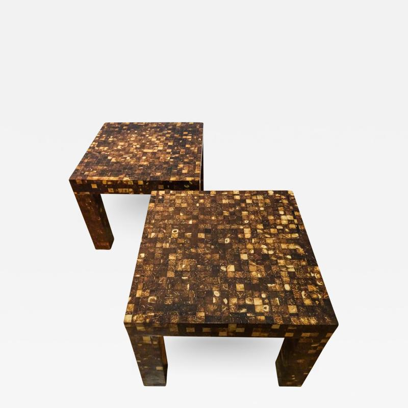 William Piedrahita Pair of Coconut Shell Inlaid side tables
