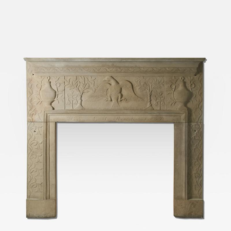 William Roberts Signed and Dated Sandstone Mantel