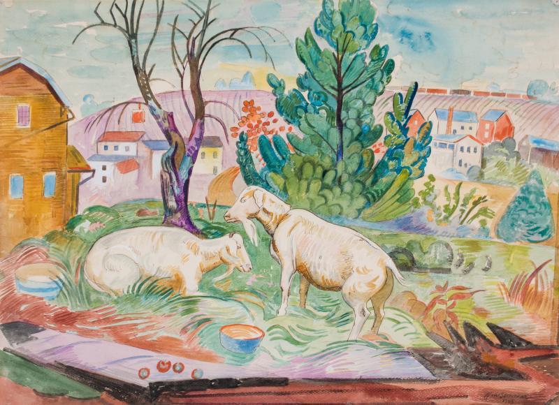 William Sommer Brandywine Landscape With Goats