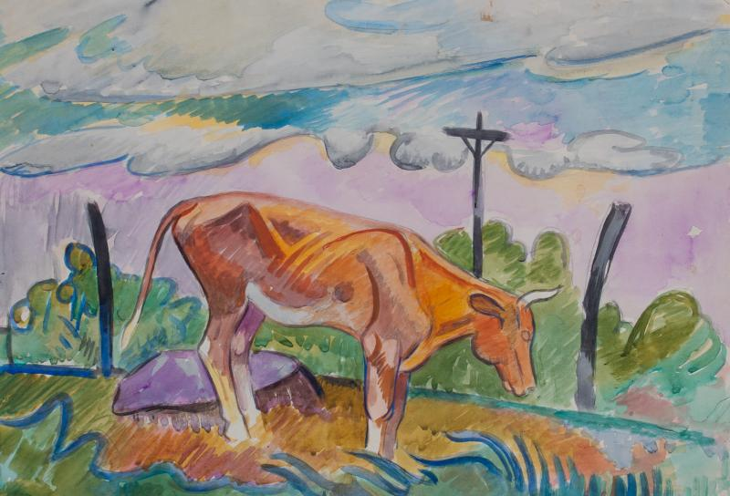 William Sommer Cow in Landscape