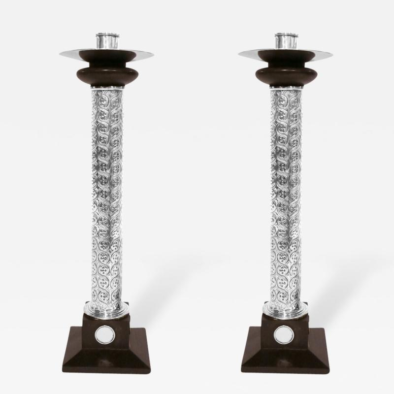 William Spratling Pair of Monumental Sterling Silver Ebony Candlesticks by William Spratling