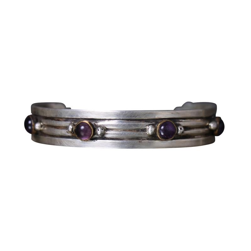 William Spratling William Spratling Cuff Bracelet Sterling Sterling Brass Amethyst 1940s Mexico