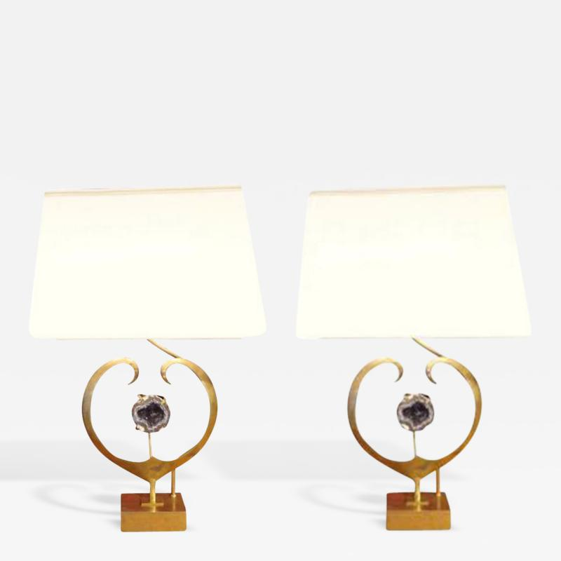 Willy Daro An Exceptional Pair of Table Lamps in Brass and Amethyst Quartz by Willy Daro