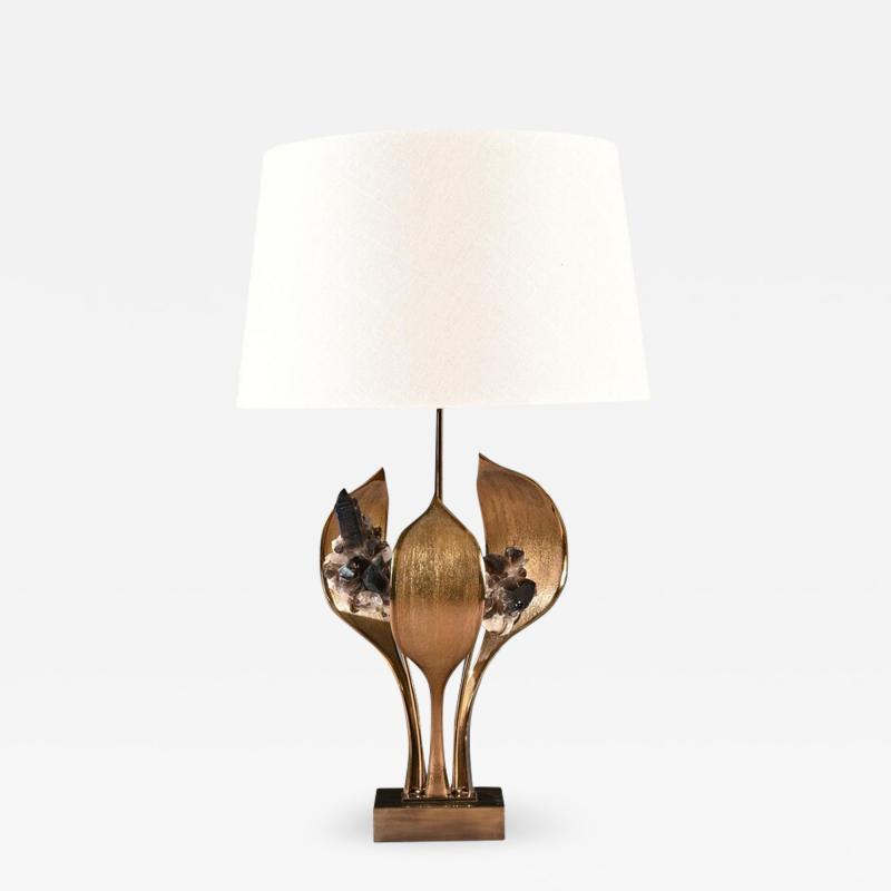 Willy Daro IMPRESSIVE 1970 GILT BRONZE AND QUARTZ LAMP BY WILLY DARO