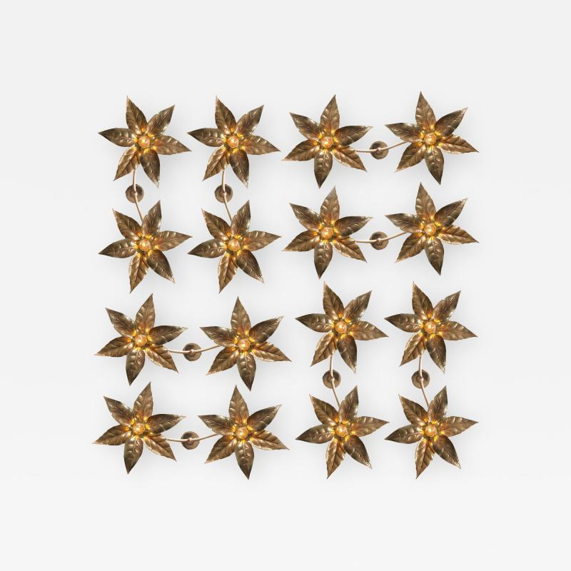 Willy Daro One of the Eight Willy Daro Style Brass Dubble Wall Lights by Massive Lighting
