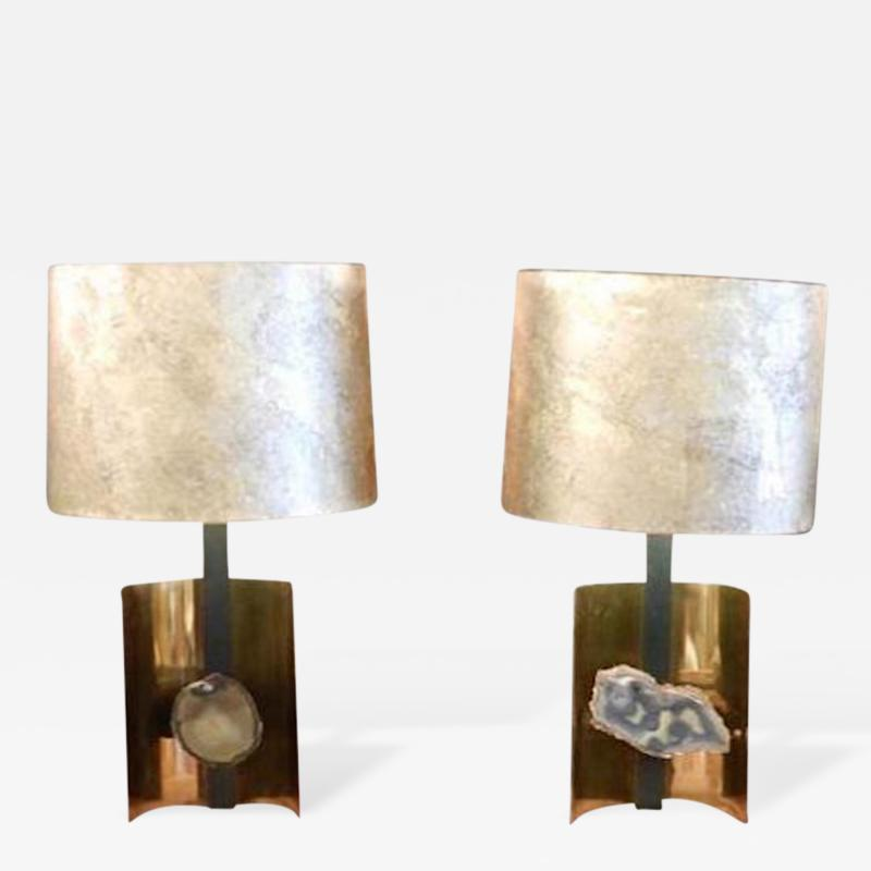 Willy Daro Pair of Table Lamps in Brass Steel and Agate in the Style of Willy Daro