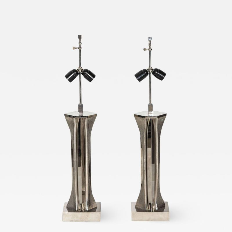 Willy Daro Pair of Table Lamps in silver bronze by Willy Daro