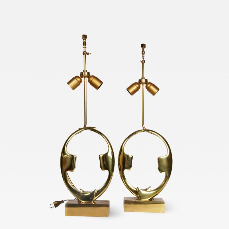 Willy Daro Pair of sculptural bronze lampsby Willy Daro