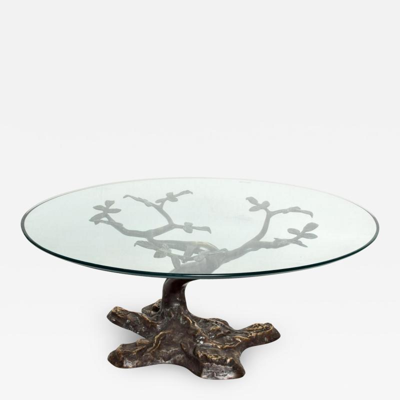 Willy Daro Willy Daro Contemporary Postmodern Bronze Bonsai Tree Coffee Table Mid Century