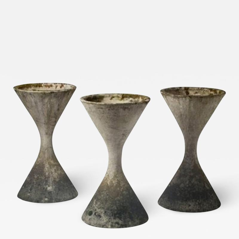 Willy Guhl Three planters by Willy Guhl with original patina