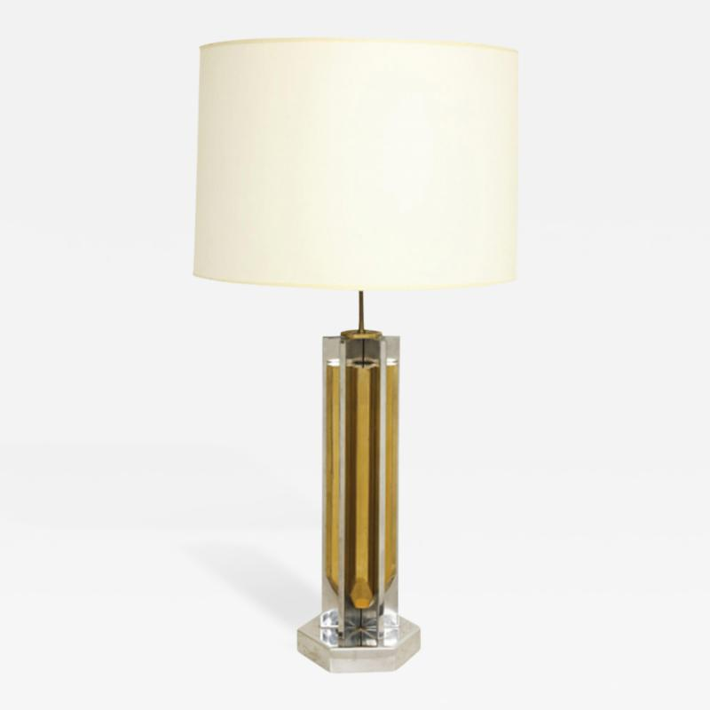 Willy Rizzo 1970s Lamp of Cast Brass and Nickel by Willy Rizzo