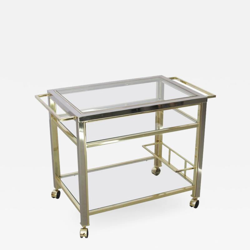 Willy Rizzo Bar Cart in Chrome and Brass attributed to Willy Rizzo