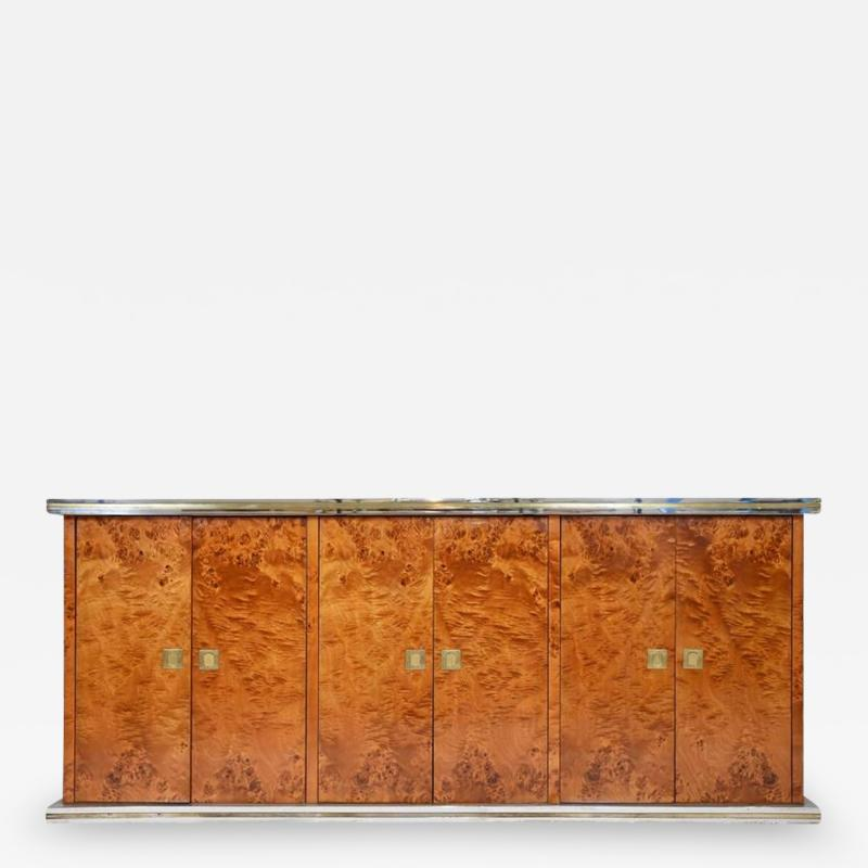 Willy Rizzo Italian Burl Elm Credenza by Willy Rizzo