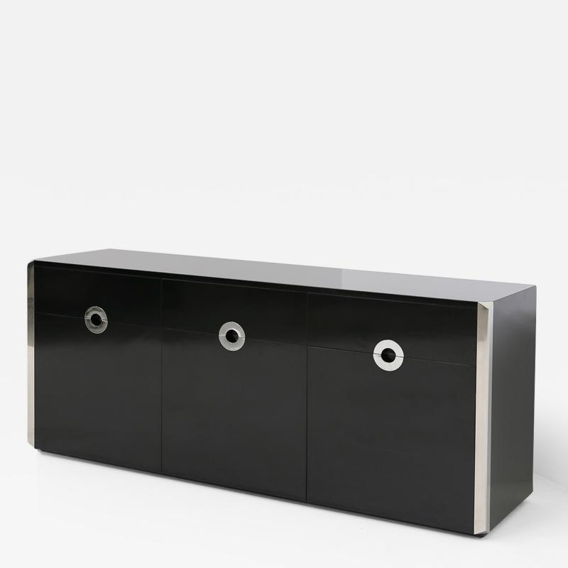 Willy Rizzo Italian sideboard by Willy Rizzo for Mario Sabot in black wood and steel 1970s