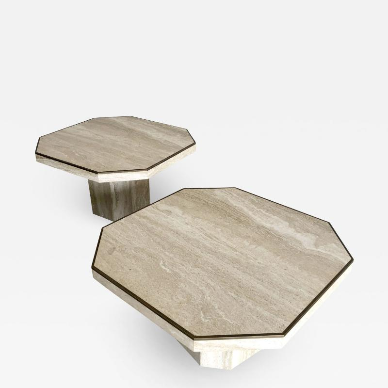 Willy Rizzo Pair Italian Modern Travertine Marble Low Tables for Jean Charles Willy Rizzo