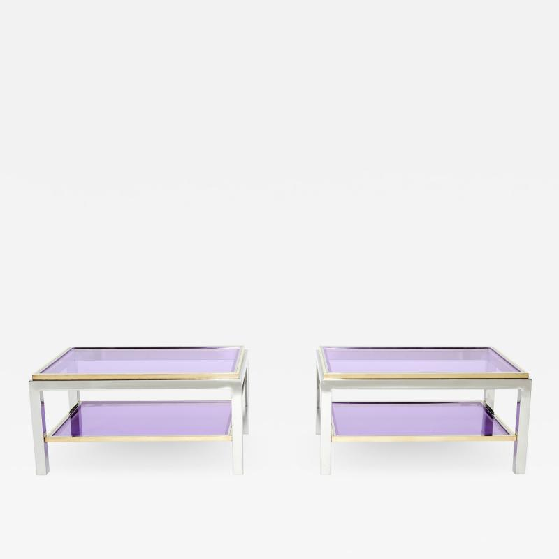 Willy Rizzo Pair of Two Tier brass chrome end tables Willy Rizzo Flaminia 1970s