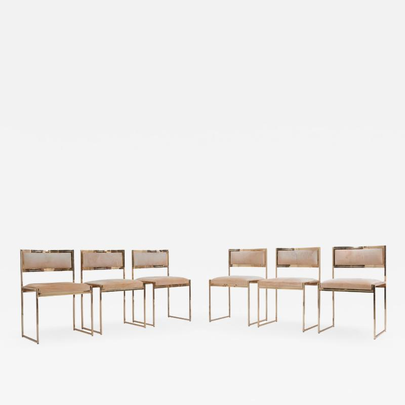 Willy Rizzo Set of 6 Dining Chairs complete in Brass Gold by Willy Rizzo
