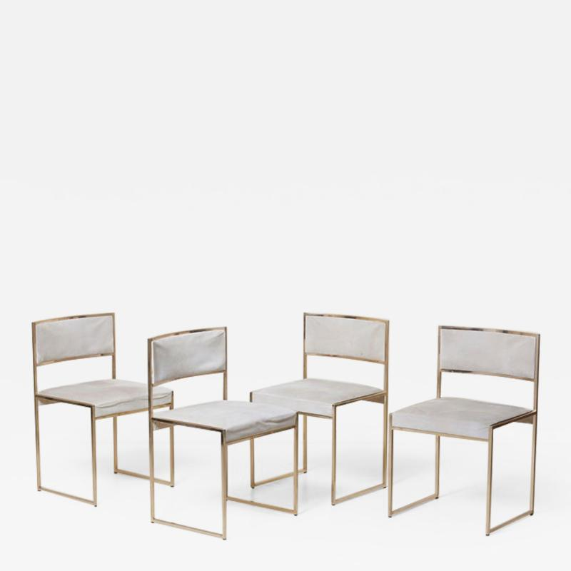Willy Rizzo Set of Four Brass Dining Chairs by Willy Rizzo