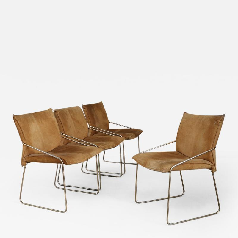 Willy Rizzo Set of four chairs by Willy Rizzo in Brass and Chamois Beige from the 1970s