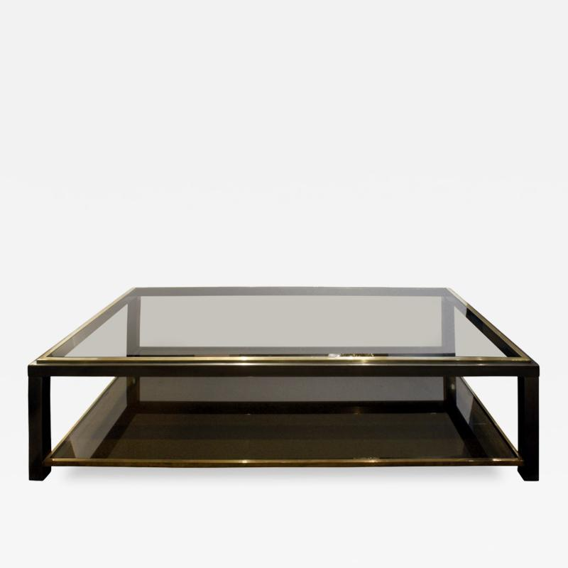 Willy Rizzo Willy Rizzo 2 Tier Coffee Table in Gunmetal and Brass 1960s