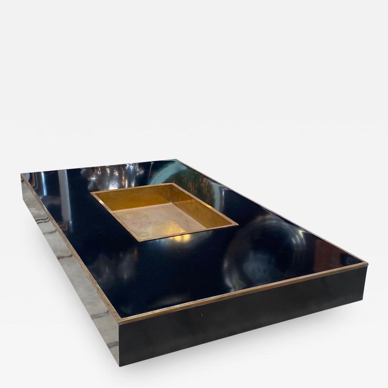 Willy Rizzo Willy Rizzo Alveo Rectangular Black Wood Chrome Italian Coffee Table 1970s