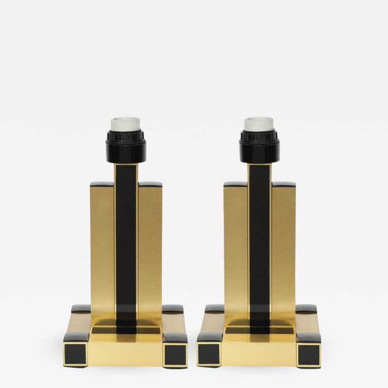 Willy Rizzo Willy Rizzo Brass Black Lamps