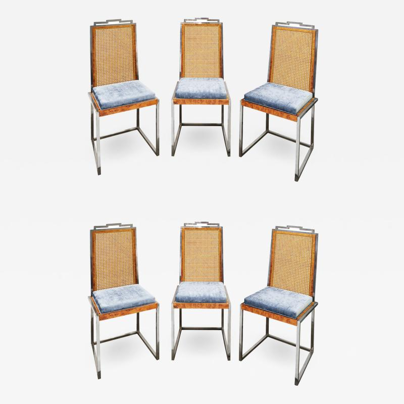 Willy Rizzo Willy Rizzo Set of 6 Dining Chairs in Chrome and Burl Wood 1970s