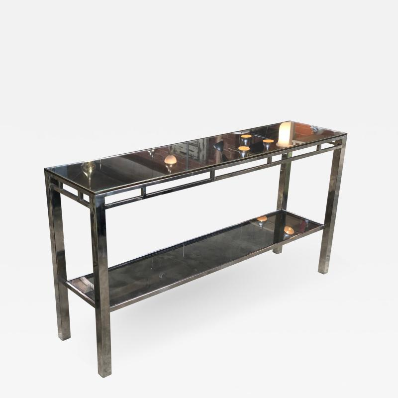 Willy Rizzo Willy Rizzo Signed Chrome with Double Shelved Console Table Italy 1970s