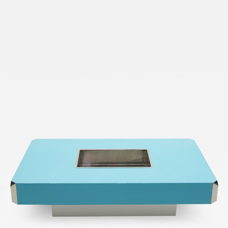 Willy Rizzo Willy Rizzo blue lacquer and chrome bar coffee table Alveo 1970s