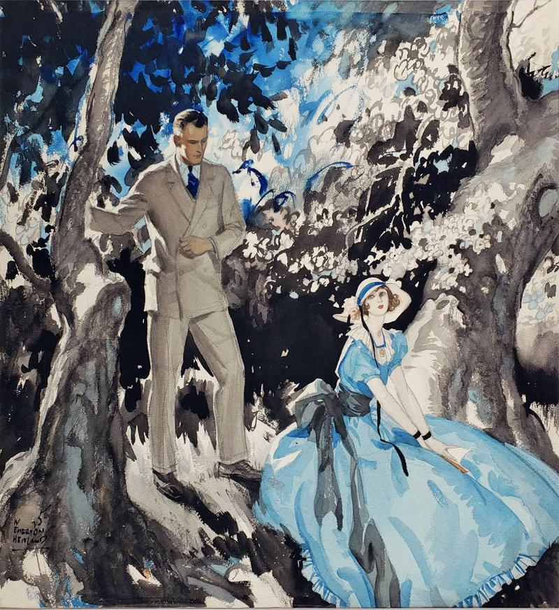 Wilmot Emerton Heitland Art Deco Handsome Couple in Garden Illustration