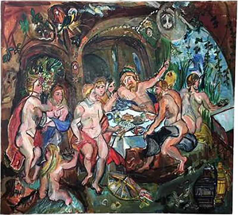 Winona Diskin Signed Large Modern Baroque Ornate Feast Oil Painting Amongst Monkeys and Parrot