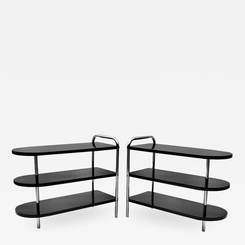 Wolfgang Hoffmann Pair of Streamline Art Deco Side Tables by Wolfgang Hoffman for Troy
