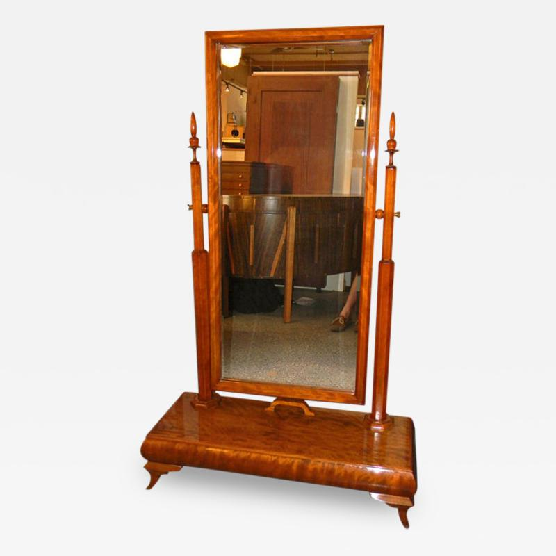 Wonderful Art Deco Standing Mirror with Honduras Mahogany Wood