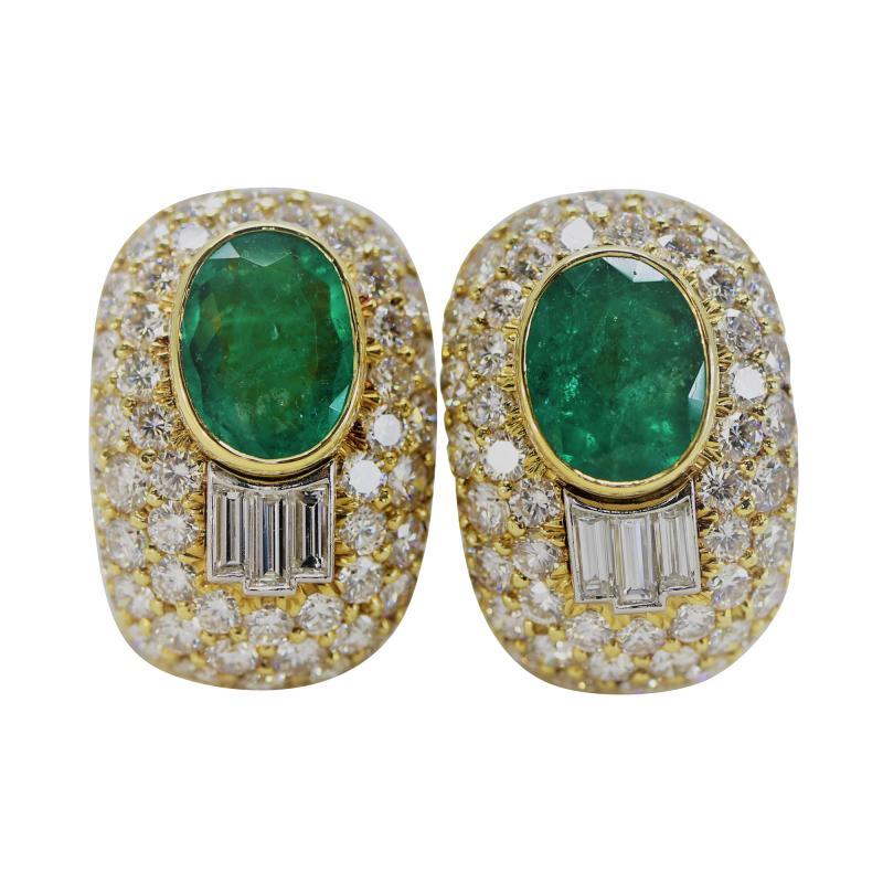 Wonderful David Webb Emerald and Diamond Earrings