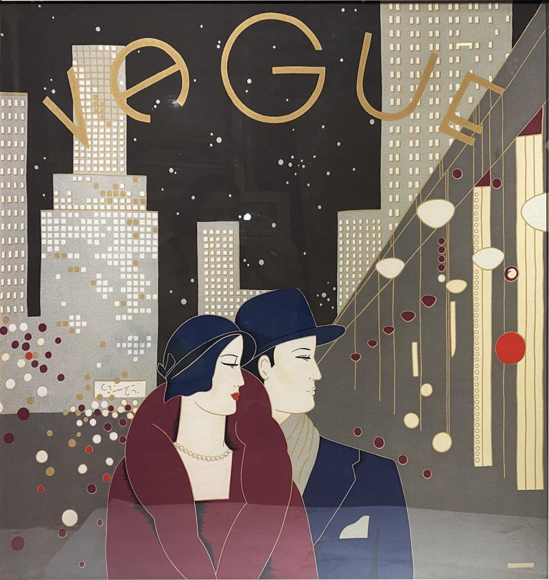 Wonderful Pancaldi Framed Silk Scarf Typical Art Deco Style