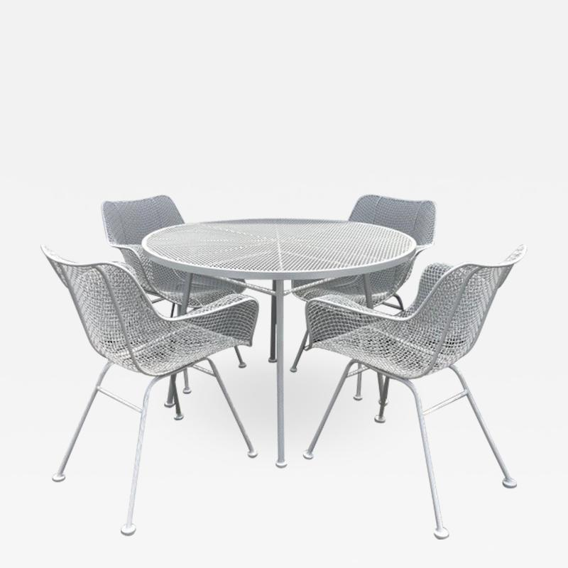 Woodard Furniture Woodard Sculptura White Dining Table and Chairs Set of 5 pieces