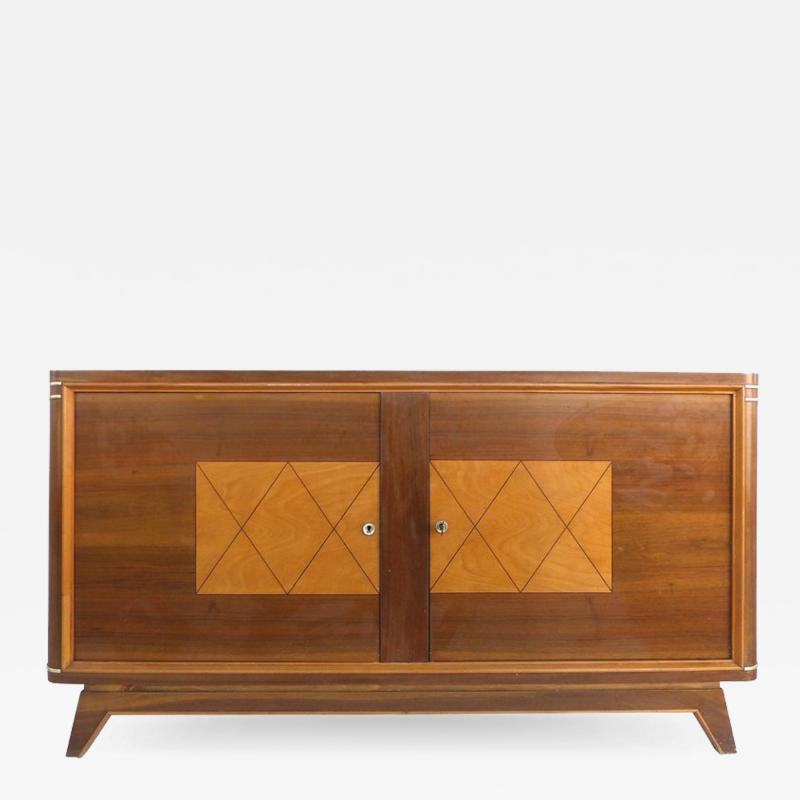 Wooden Art Deco Credenza with Two Tone Pattern Doors