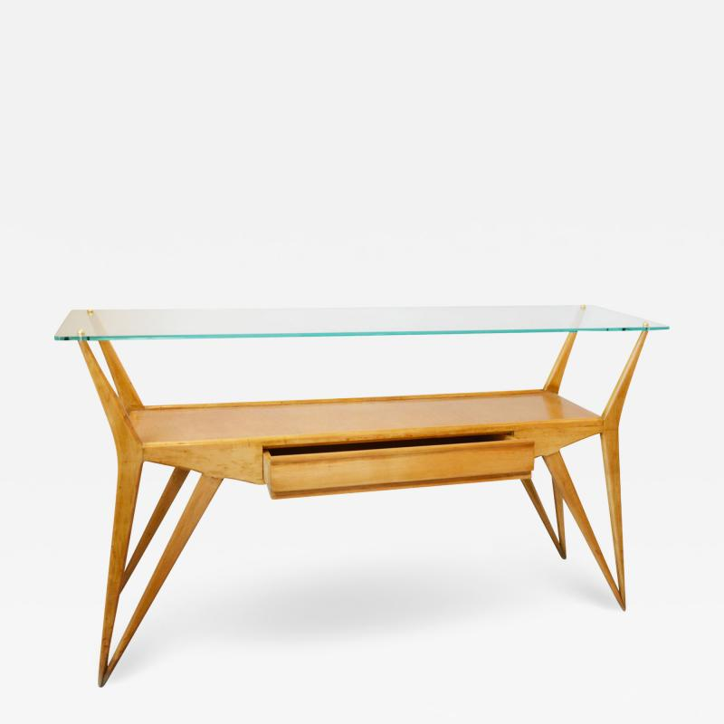 Wooden console table with drawer and glass top from the 50s