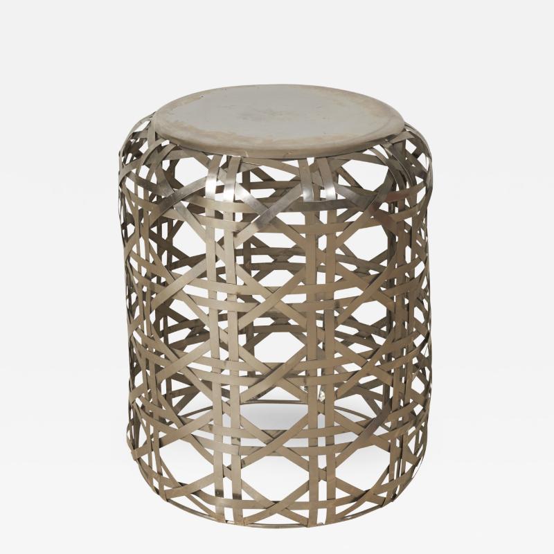 Woven Diamond Twill Pattern Stainless Steel Side Table