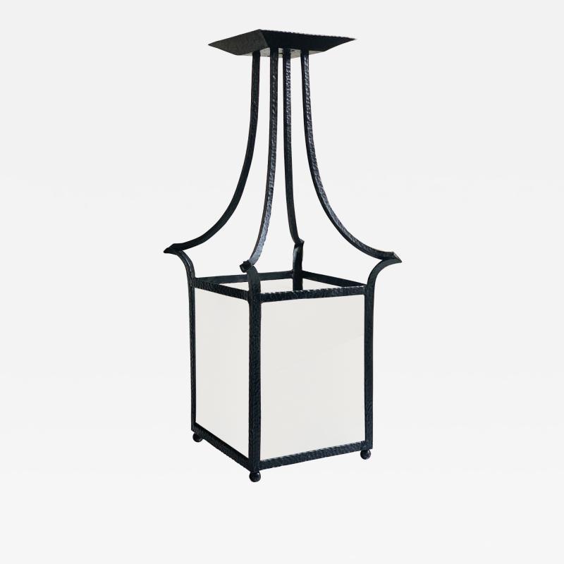 Wrought Iron Swedish Modern Classicism Lantern Fixture