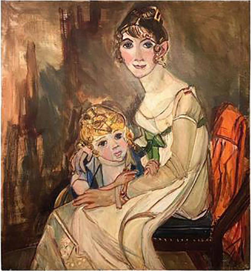 Wyona Diskin Large Signed Modern Painting of Baroque Woman and Child
