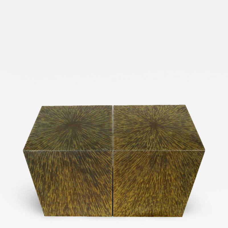 Xavier Mennessier Cube Side Table in Titanium by Xavier Mennessier