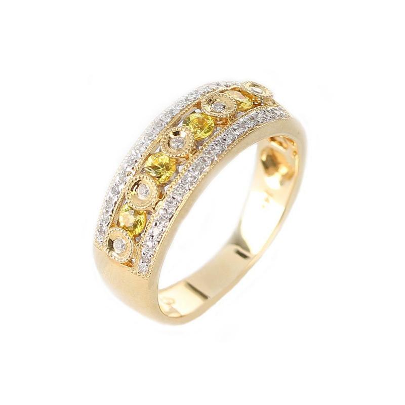 YELLOW SAPPHIRE AND DIAMOND CIRCULAR DESIGNED RING 14K GOLD