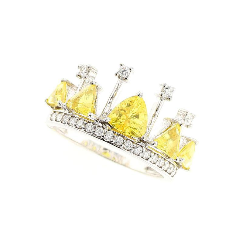 YELLOW SAPPHIRE AND DIAMOND CROWN RING 18K WHITE GOLD