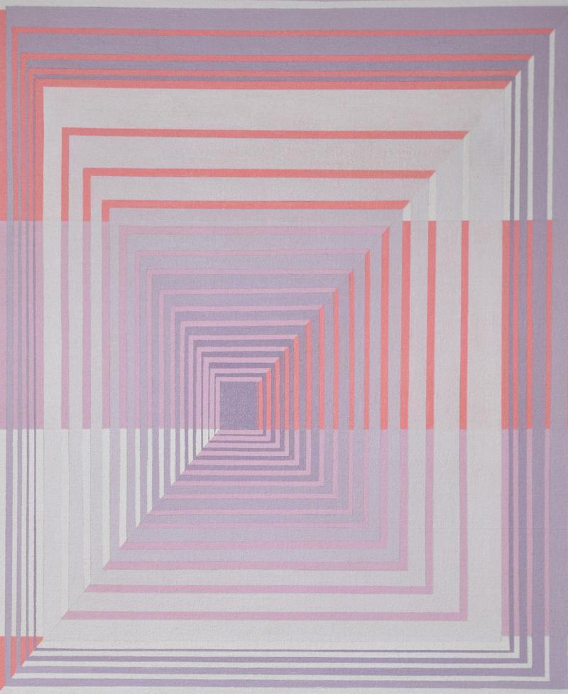 YOKO HARU Yoko Haru American 1968 Stunning Geometric Modern Op Art Acrylic on Canvas